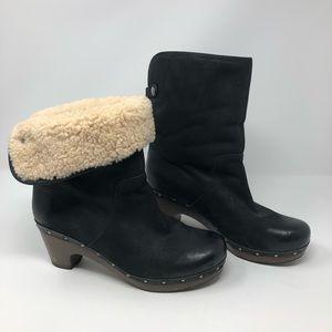 UGG Clog Suede Leather Black Boots 9